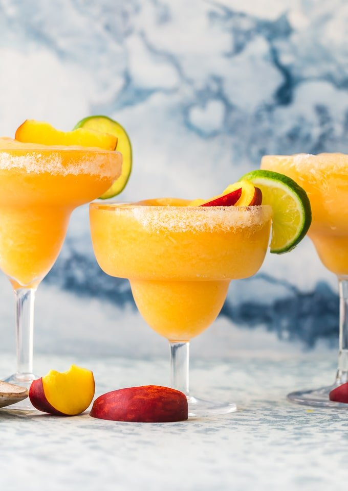 three frozen skinny peach margaritas