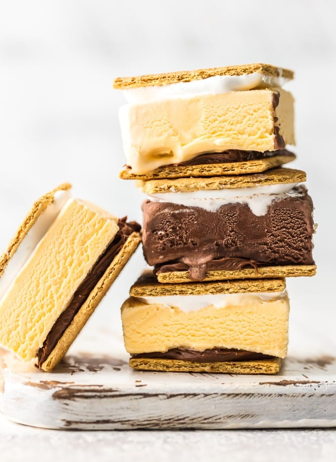 smores ice cream sandwiches stacked on each other
