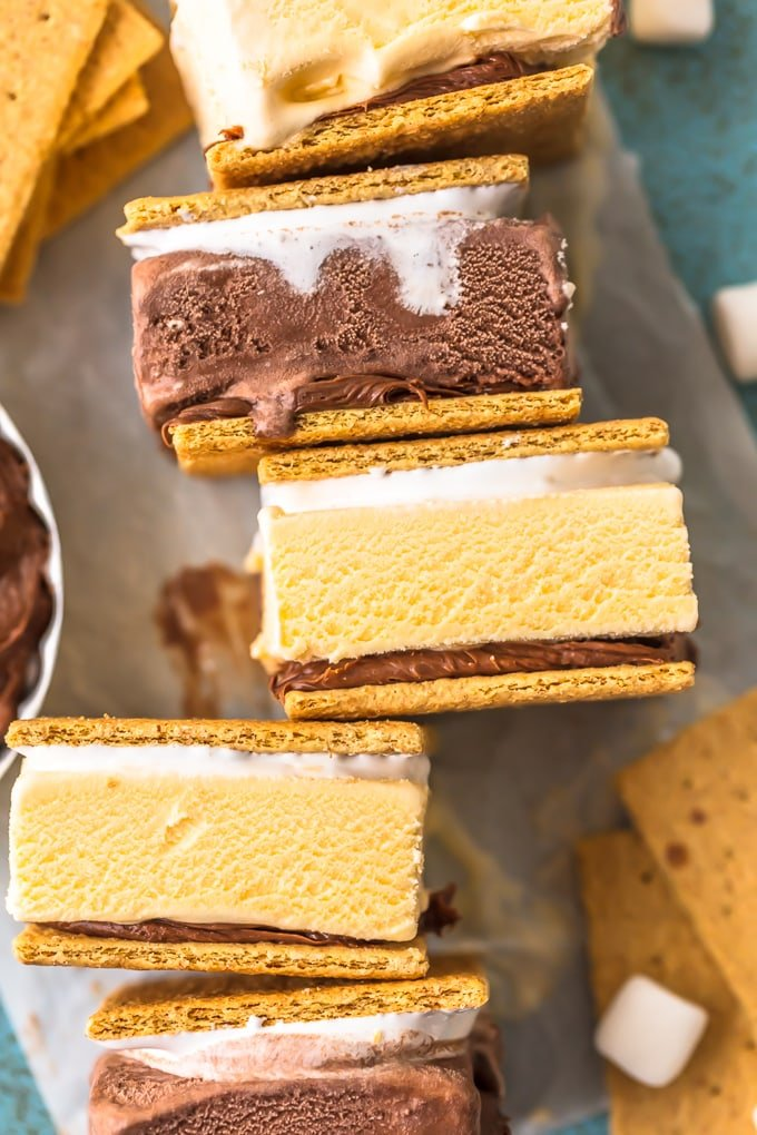 stacks of smore ice cream sandwiches