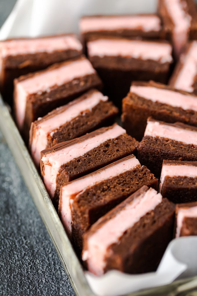Easy brownie recipe with a layer of chocolate brownie, and a layer of strawberry filling