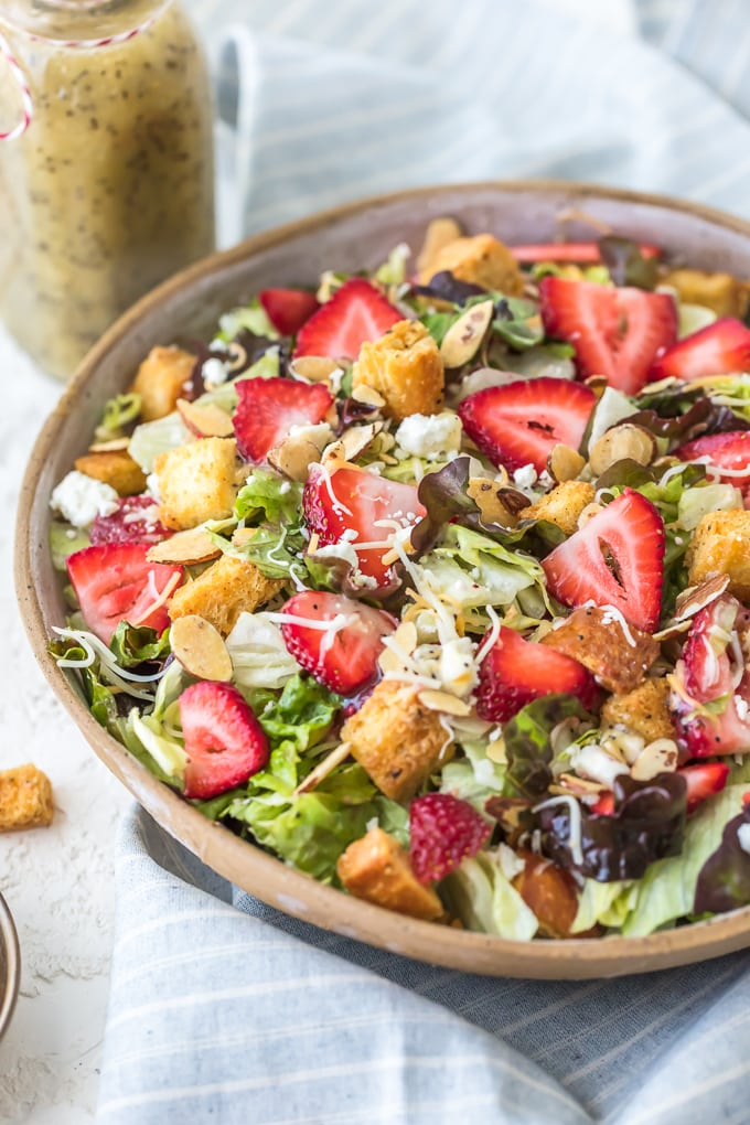 Strawberry Poppyseed Salad with homemade croutons