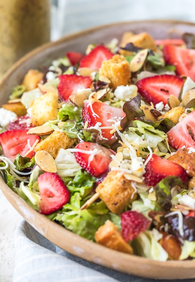 Healthy summer salad recipe with strawberries