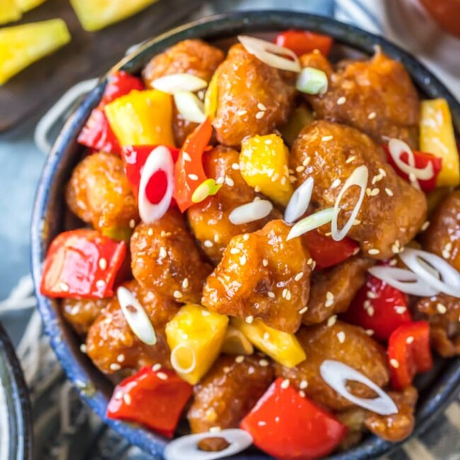 Sweet and Sour Chicken is a typical dish you'll find at Chinese-American restaurants. I love the crispy, tangy flavor of this sweet and sour chicken recipe! It's best served with white rice, vegetables, and my homemade sweet and sour chicken sauce.