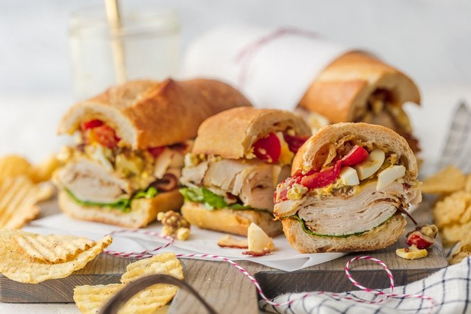 Cobb Salad Chicken Sandwich sliced into small pieces