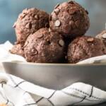 Walnut Brownie Protein Balls in a white bowl
