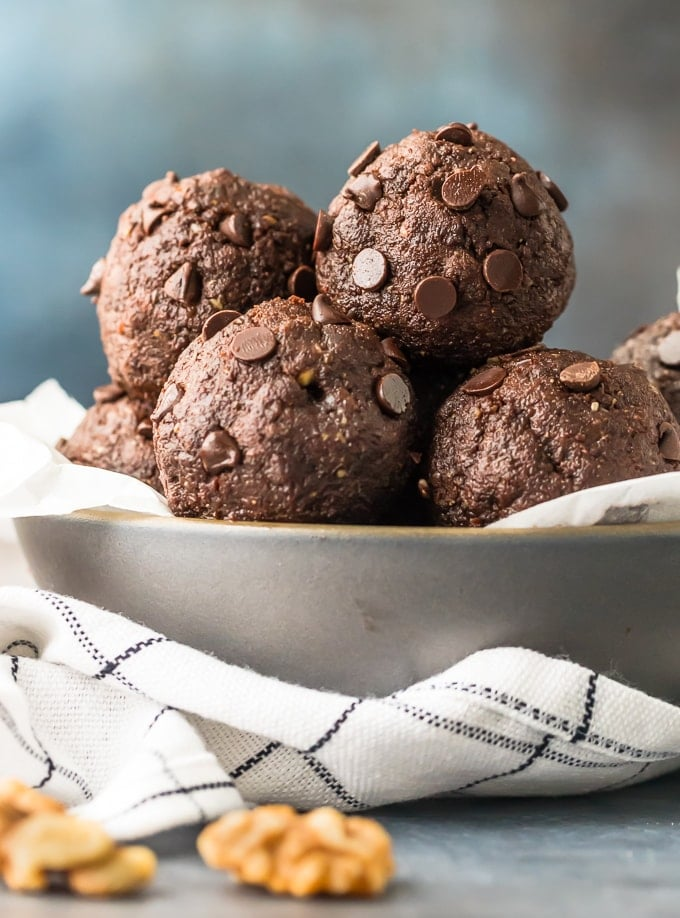 Walnut Brownie Protein Balls in a bowl