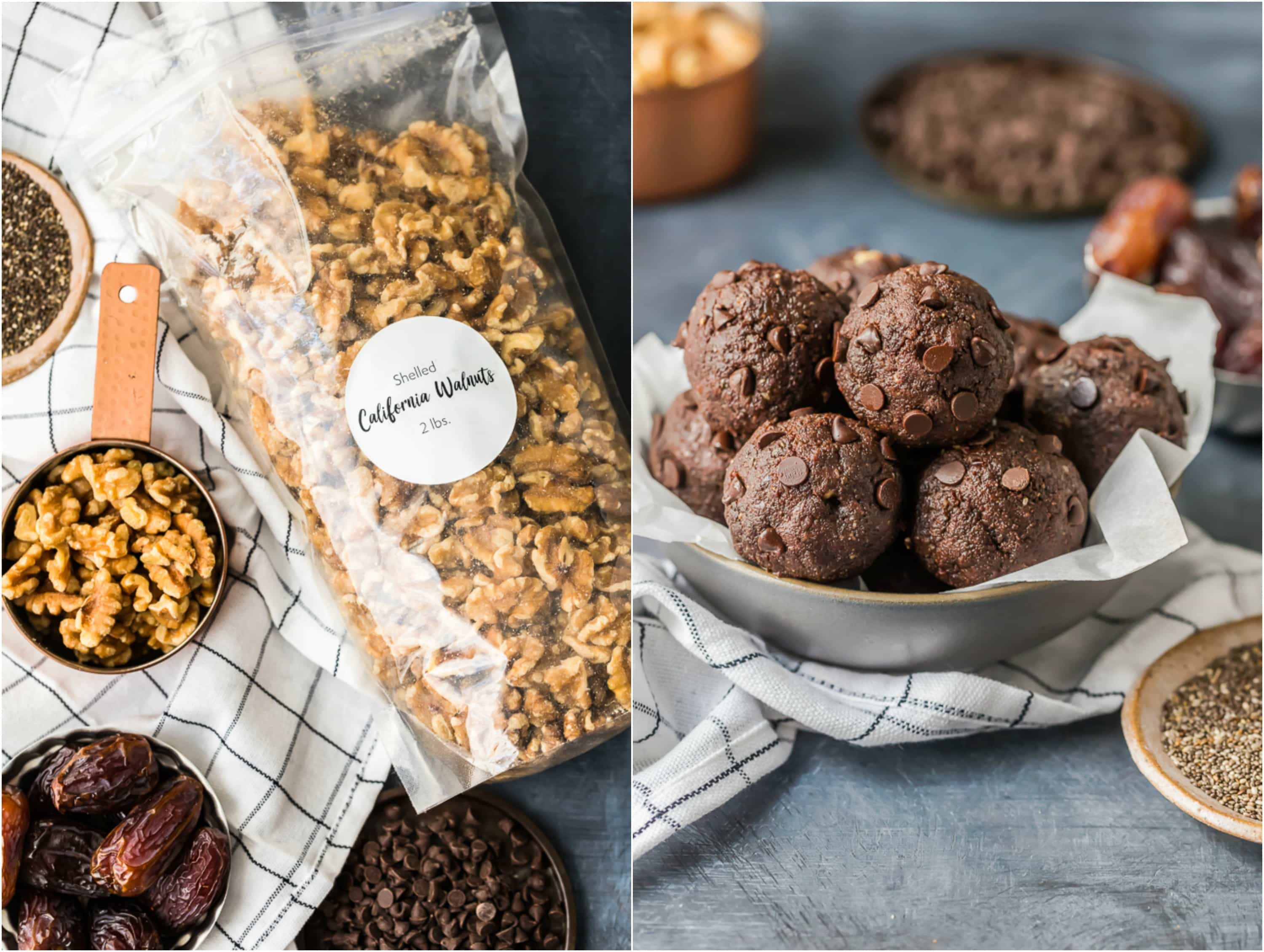 Walnut Brownie Protein Balls are the perfect pop-able breakfast, after workout snack, or simple sweet treat to fuel you throughout the day. This grab and go Chocolate Energy Bites Recipe is so fast and easy, you'll want to make a batch every week. Stuffed with healthy ingredients such as walnuts, unsweetened cocoa powder, chia seeds, peanut butter, and more...these Nutty Chocolate Energy Bites taste like brownie batter but are packed with  protein and goodness!