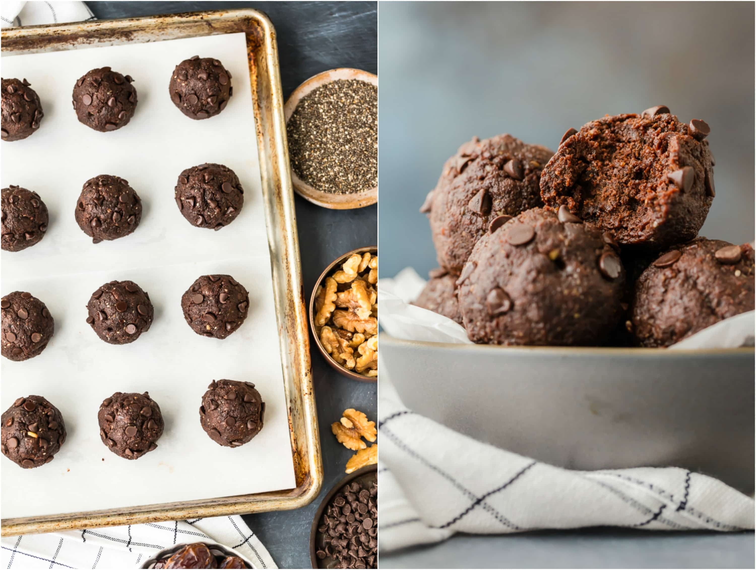 Walnut Brownie Protein Balls on a sheet pan and in a bowl