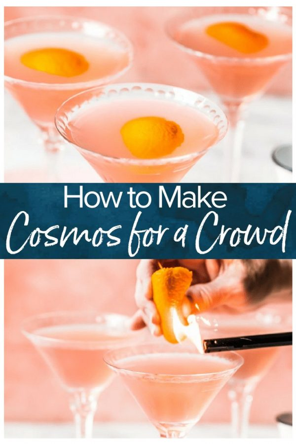 This is the best Cosmo recipe for a crowd. Make them in a pitcher, then shake each one before serving. Learn how to make a Cosmopolitan for one or for a whole party!