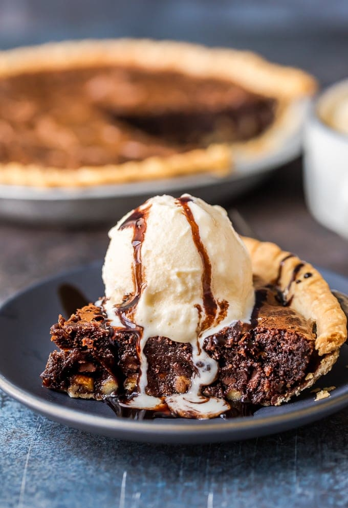 Brownie Pie topped with ice cream