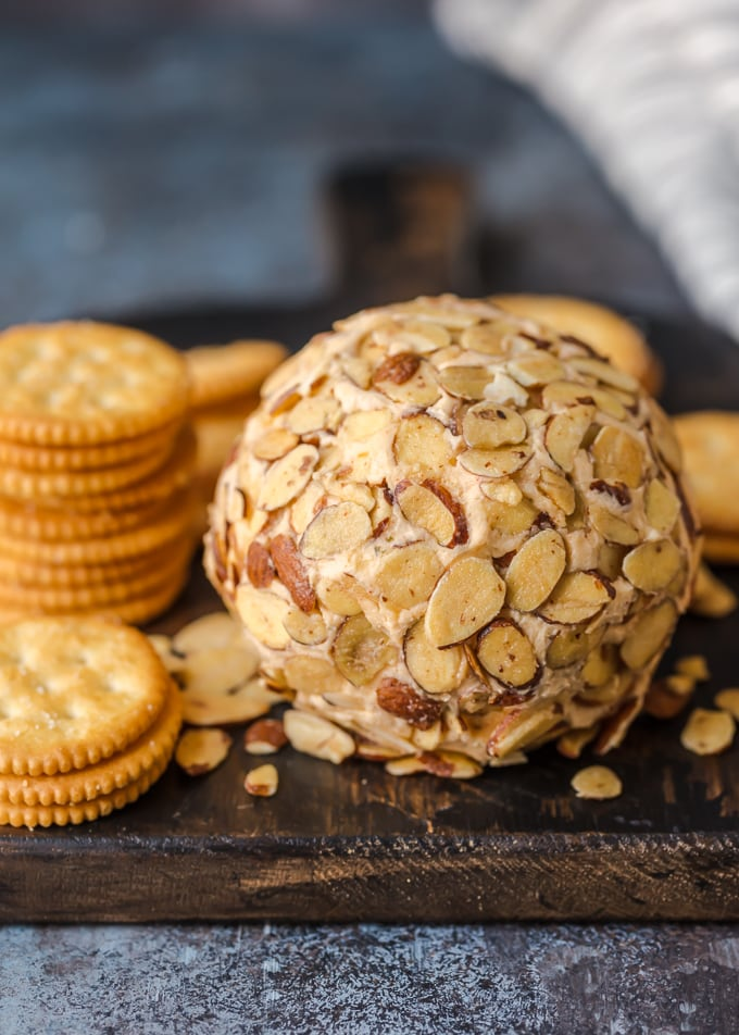 classic cheese ball recipe covered in toasted almonds