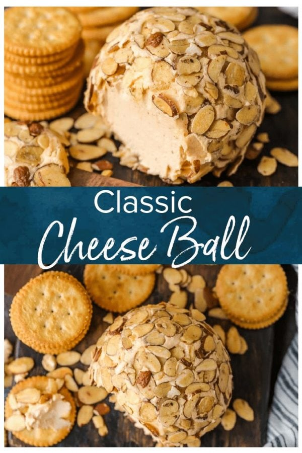 This is the BEST CHEESE BALL RECIPE for holiday parties. No Christmas or New Year's Eve party is complete without a classic cheese ball served with crackers!