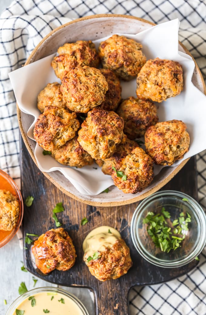 Sausage cheese balls on a platter