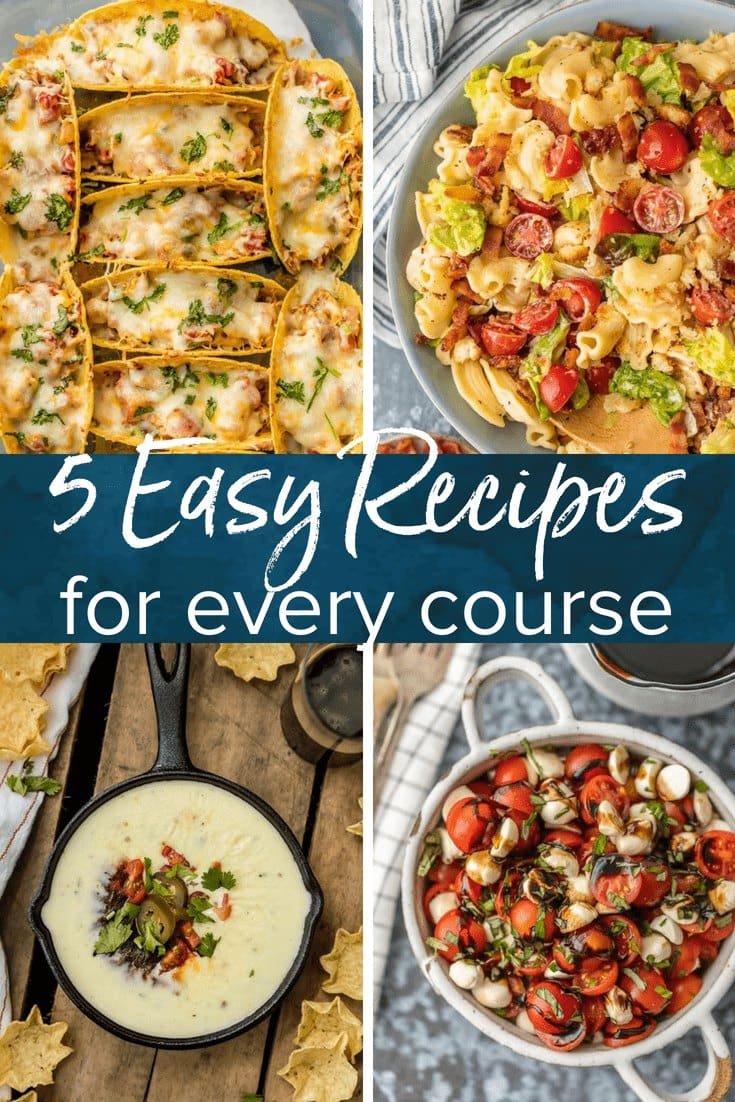 Cooking should be quick, easy, and hassle-free! So I put together 5 easy recipes for every course to give you some inspiration and get you started in the kitchen.
