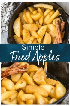 With apple-picking season right around the corner, it's time to get the perfect FRIED APPLES recipe out there. Fresh apples, sugar, and butter fried on the stove top with cinnamon...so delicious! Learn how to make fried apples for breakfast, dessert, snacks, or even as a side dish!