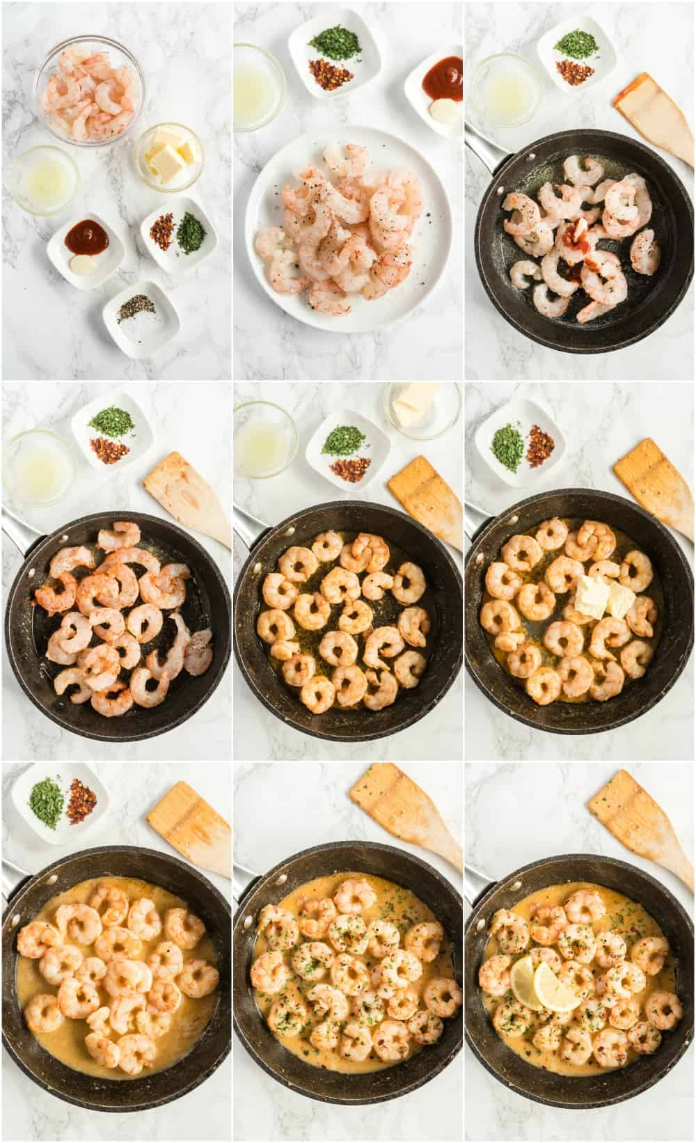 step by step photos of shrimp in skillet, process shots