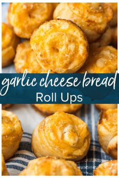 Garlic Cheese Bread Roll Ups are a fun and cheesy recipe that you can serve with any meal. These little garlic rolls are easy to make and so darn delicious!