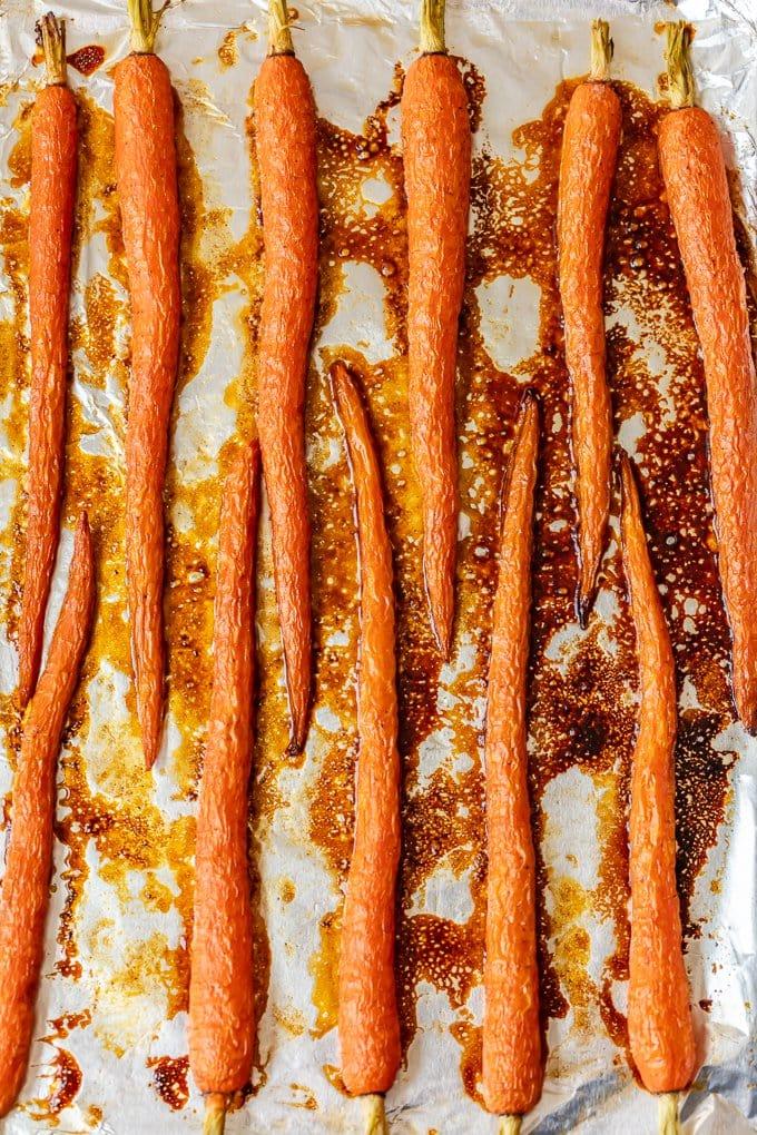 Honey Glazed carrots on a baking tray