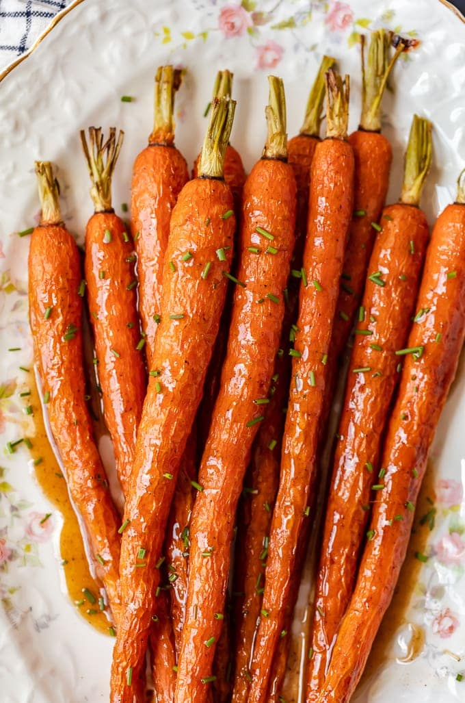 Honey Glazed Carrots recipe on a floral serving dish