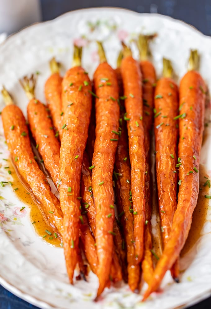 Honey roasted carrots on a serving plate