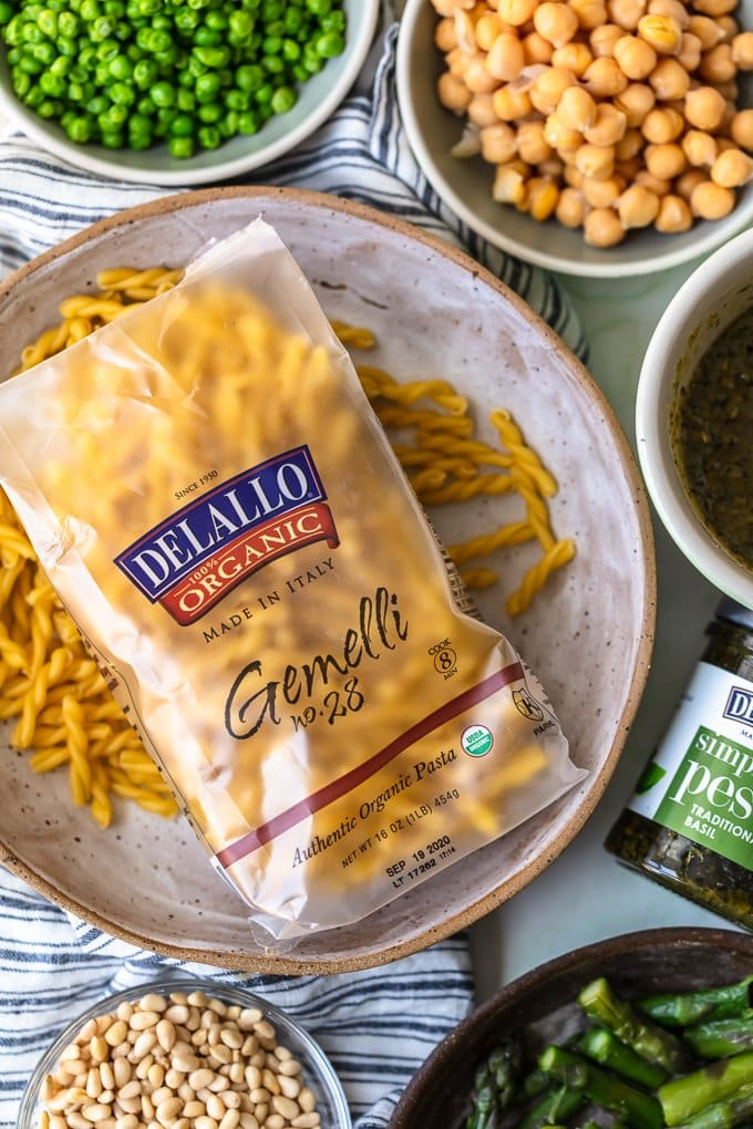 Delallo Gemelli package on a plate