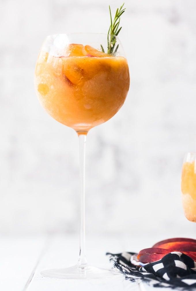 Single glass of peach frose