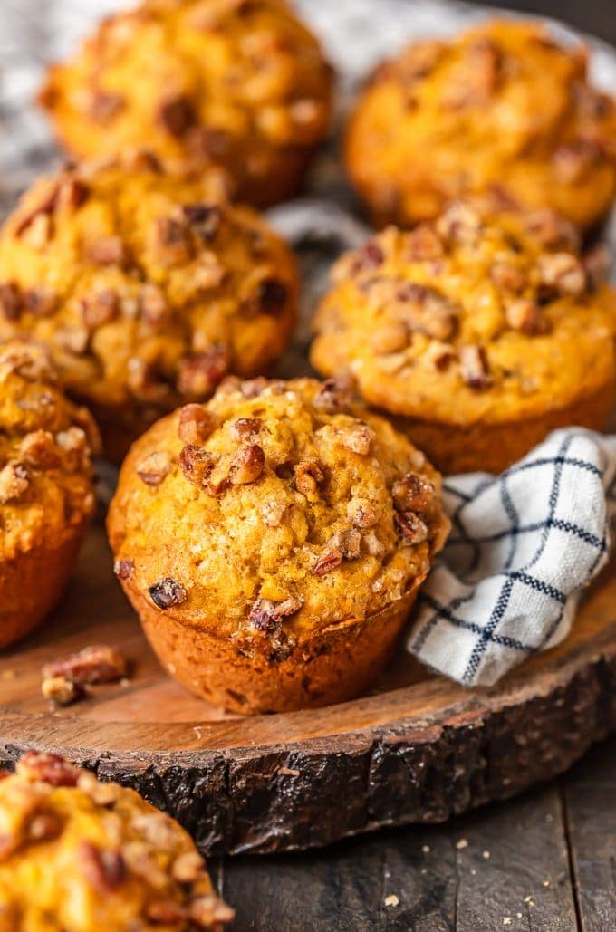Pumpkin Muffins recipe topped with pecans
