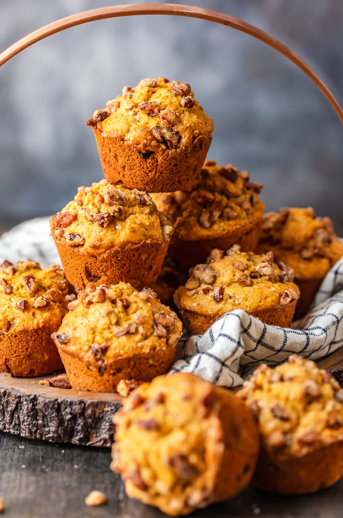 Stack of fresh baked pumpkin muffins