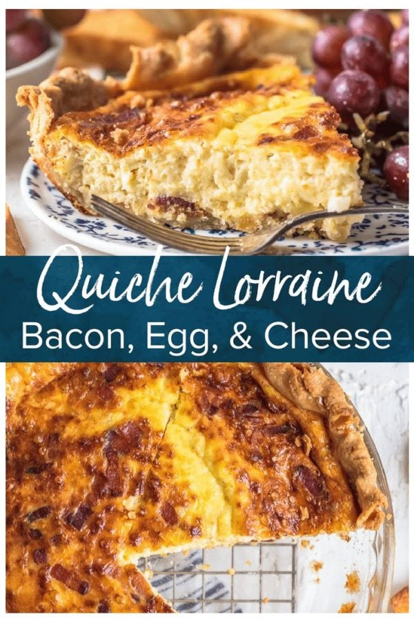 This Quiche Lorraine recipe is perfect for breakfast, brunch, or lunch. The pastry crust is filled with an egg & cream mixture full of bacon and cheese!