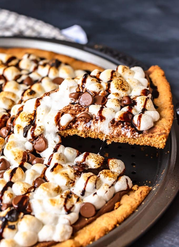 S'mores Dessert Pizza with slice cut out