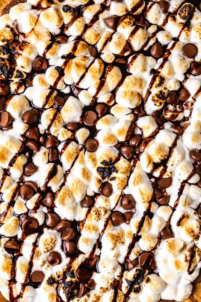 S'mores Dessert Pizza overhead up close