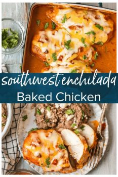 This Southwest Chicken Bake is so creamy, cheesy, & delicious. This easy Enchiladas Baked Chicken Breast recipe is perfect for dinner any night of the week!