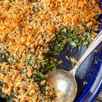 Spinach Gratin is a cheesy side dish recipe perfect for holidays. Also known as Creamed Spinach Casserole, this recipe bakes together into a hot a bubbly dish full of flavor!