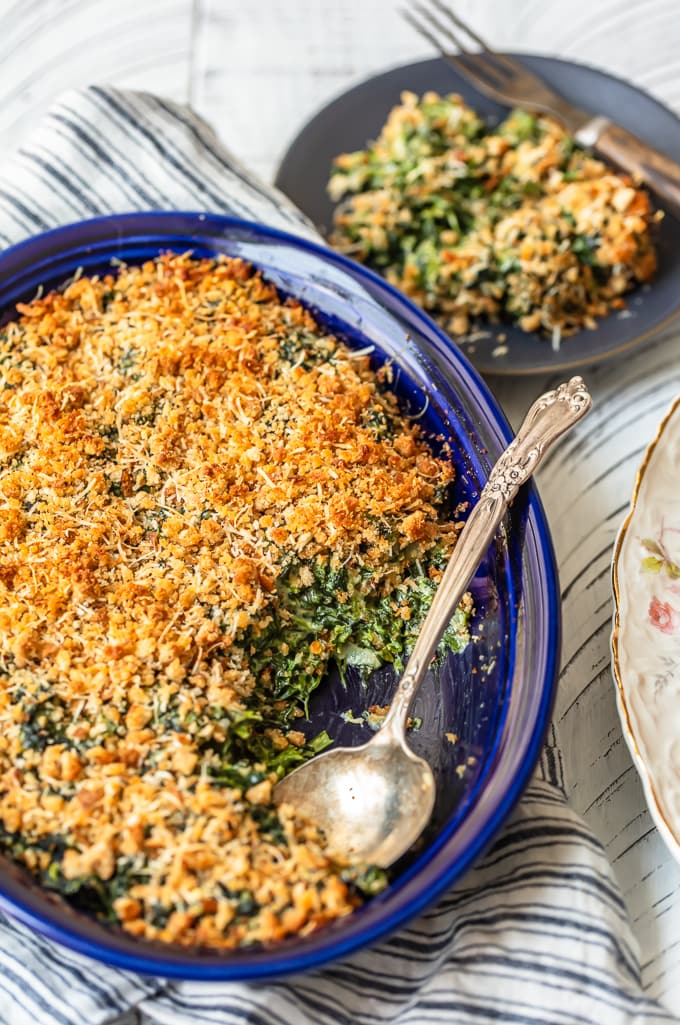 Cheesy Spinach Gratin in a baking dish