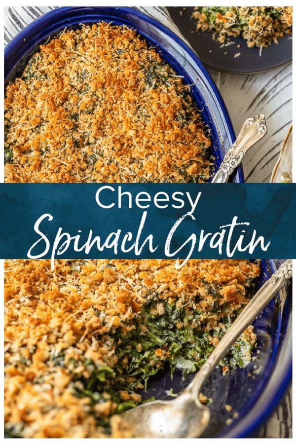 Spinach Gratin is a cheesy side dish recipe perfect for holidays. Also known as Creamed Spinach Casserole, this recipe bakes together into a hot and bubbly dish full of flavor!