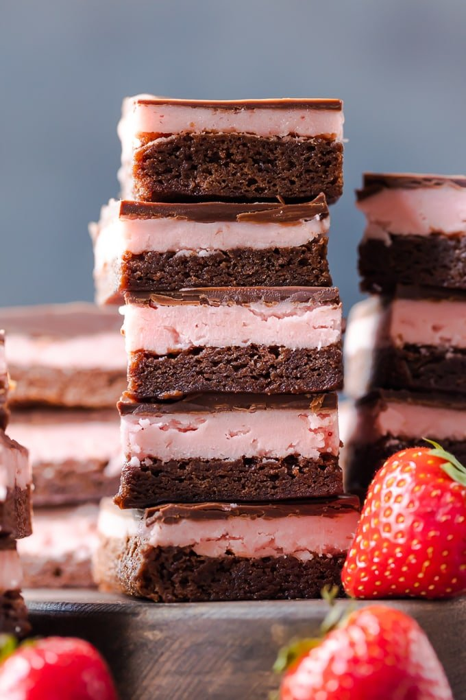 A stack of strawberry brownies