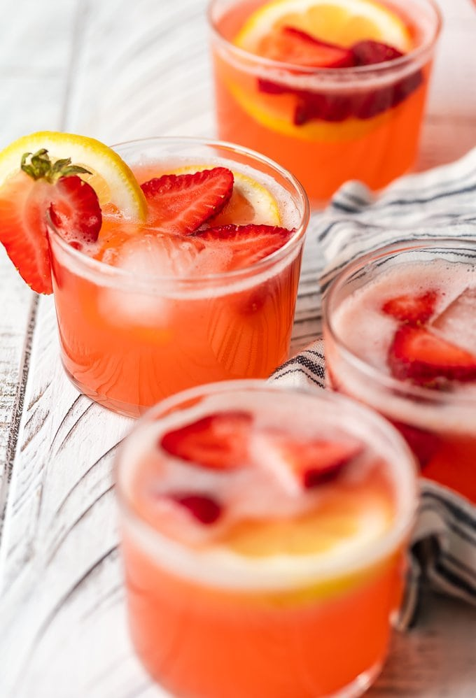 Strawberry Lemonade summer punch in 4 glasses