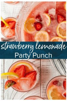 Strawberry Lemonade Party Punch is the best summer punch recipe! This refreshing drink is made with Everclear for the perfect party punch recipe.