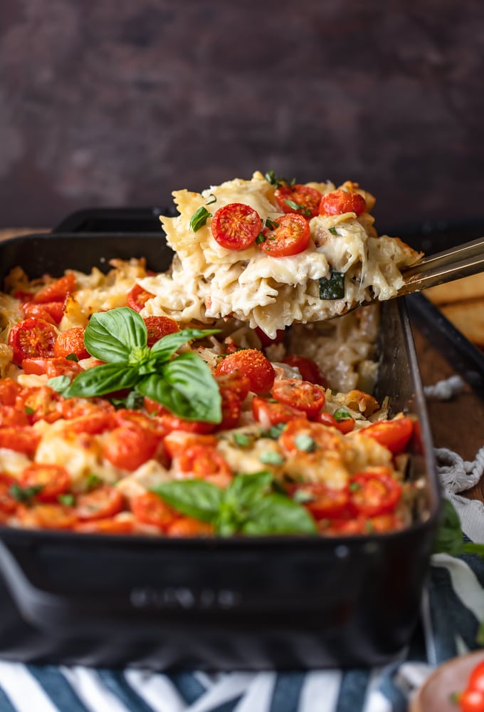 Chicken Alfredo Bake in a casserole dish