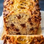 Chocolate Chip Banana Bread is the perfect thing to bake for breakfast, dessert, or just for simple snacking. This homemade banana bread with chocolate chips is so fresh, so flavorful, and so fun! I love this delicious chocolate chip banana bread recipe for any occasion, and it's so easy to make too!