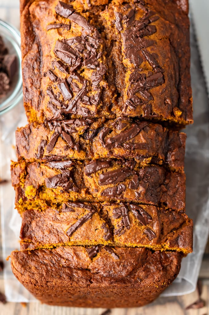 Easy pumpkin bread recipe topped with chocolate shards