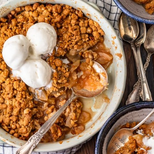 Apple Crisp is the best fall dessert! It's sweet, it's warm, it's cozy, and it's absolutely delicious. This easy apple crisp recipe is so simple and has the best homemade apple crisp topping. It's crumbly and sweet and adds the perfect texture when layered on top of the apple filling. Serve it with ice cream and everyone will devour it!