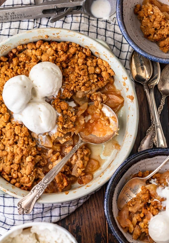 Easy apple crisp recipe in a baking dish