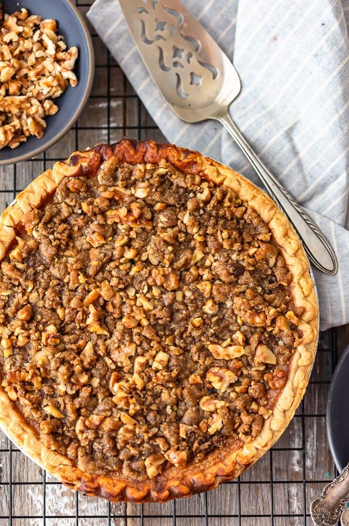 overhead shot of sweet potato pie