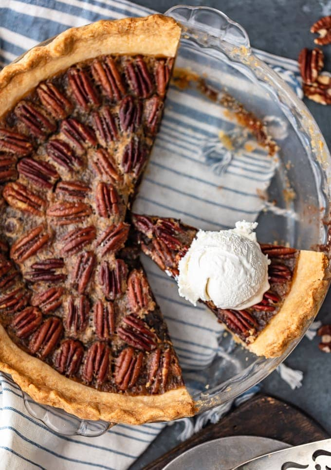 Chocolate Pecan Pie recipe in a glass pie plate