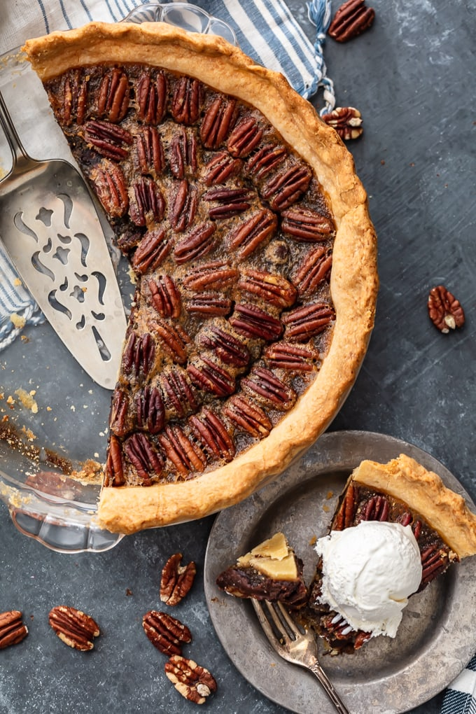 A chocolate bourbon pecan pie
