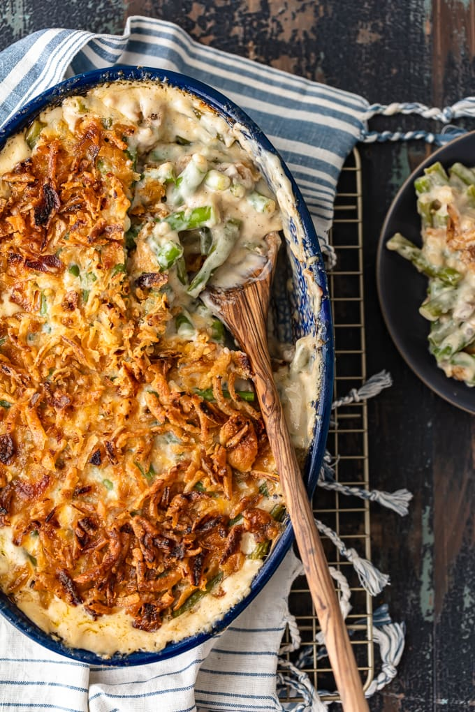 A baking dish filled with classic green bean casserole