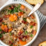 Creamy Chicken and Wild Rice Soup is the perfect fall soup recipe to kick off the season. It's creamy, delicious, and filled with the best ingredients. Make a batch of this creamy chicken and rice soup to warm you up all season long!