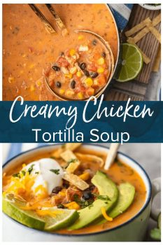 Creamy Chicken Tortilla Soup is one of my favorite fall soup recipes. It's creamy, it's delicious, and it's filled with all of my favorite Tex-Mex ingredients. This easy soup recipe is perfect for any night of the week, and it's so easy to save and reheat later!