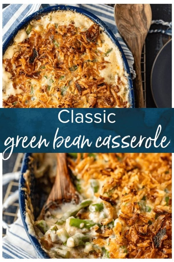 Classic Green Bean Casserole is one of those Thanksgiving recipes that you don't need to reinvent. It's absolutely perfect just the way it is, with green beans, cream of mushroom, crunchy fried onions, and some other awesome ingredients. This green bean casserole recipe is exactly what you need for you next holiday meal!